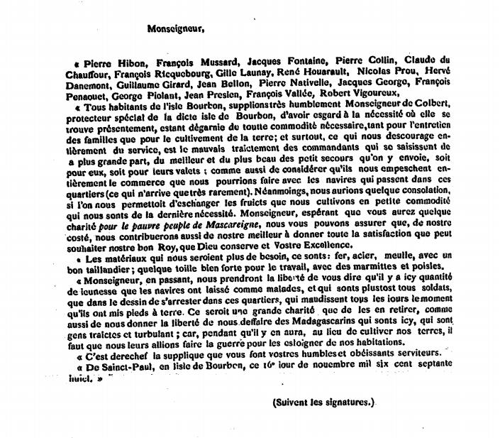 Pétition du 16 novembre 1678